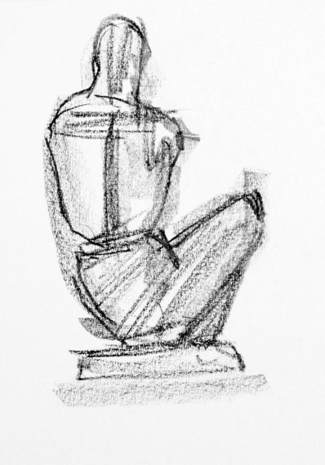 Sitzende Figurataion, Lithographiekreide, 21 x 29,5 cm, 2013