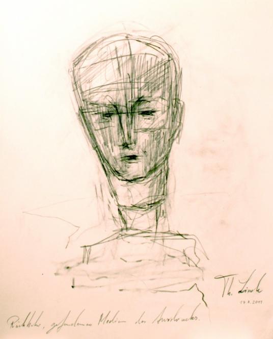Männlicher Kopf, Graphitzeichnung, 25 x 30 cm, 2011