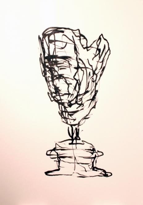 Archaische Kopf, Tusche, Rohrfeder, 29,5 x 42 cm, 2013
