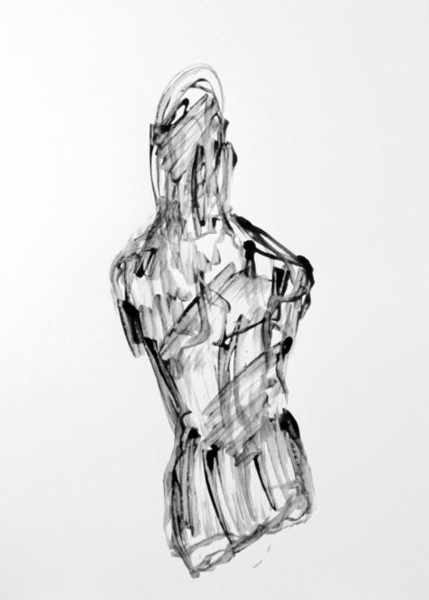 Torsogedanke, Tusche, Pinsel, 29,5 x 42 cm, 2013