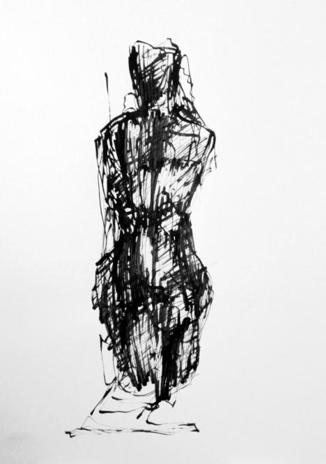 Weibliche Figuration, Tusche, Rohrfeder, 29,5 x 42 cm, 2013