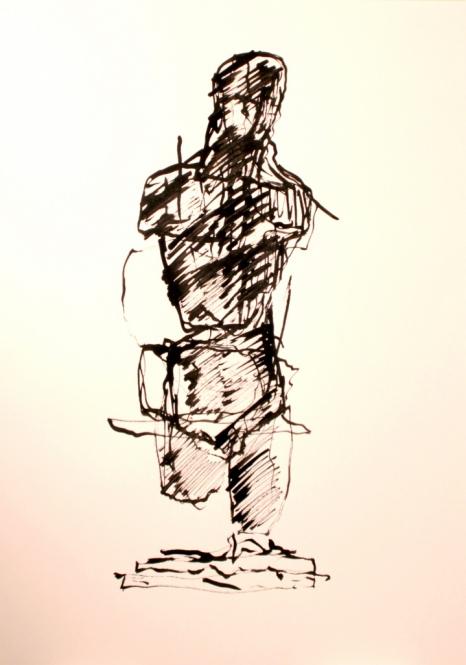 Männliche Figuration, Tusche, Rohrfeder, 29,5 x 42 cm, 2013