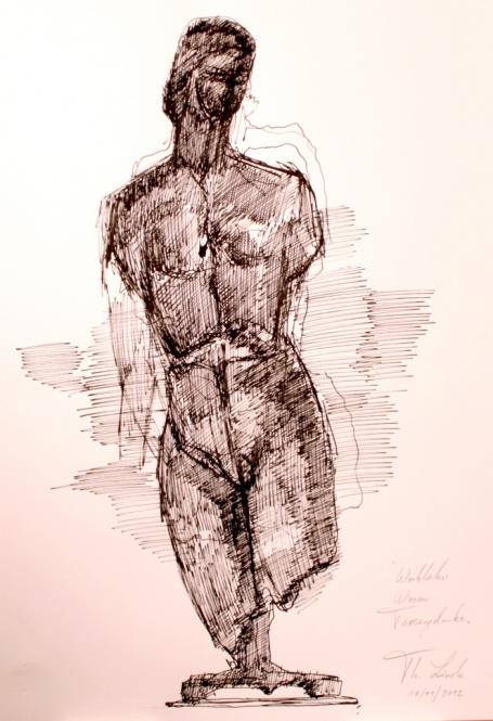 Weibliche Figuration, Tusche, Feder, 29,5 x 42 cm, 2012